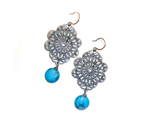 Blue Dangle Earrings - Large Silver Gray Chandelier with Bright Blue Drop