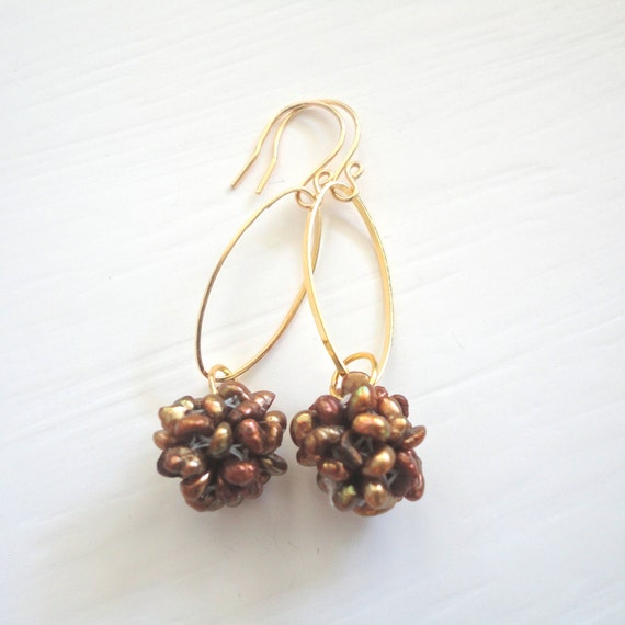 Brown & Gold Dangle Earrings with Dyed Freshwater Pearls