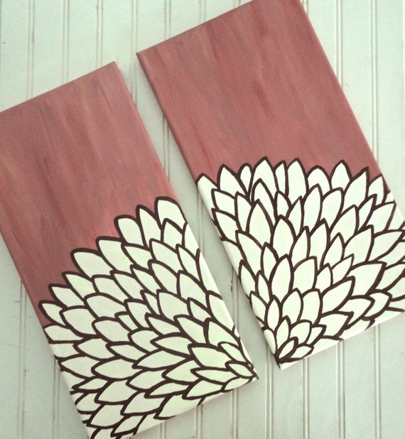 Mauve Flower Painting - Set of Two Canvases in Shades of Brown, Pink, Rose, and Ivory