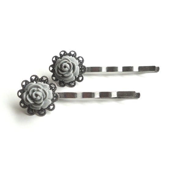 Tiny Gray Flower Hair Clips - Set of Two Bobby Pins for All Ages