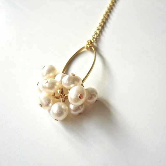 Pearl Cluster Necklace on Gold Chain - Dainty Feminine Jewelry