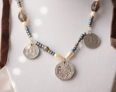 """Victorian-Style Beaded Coin Choker/Necklace- """"Chione Snowflower"""""""