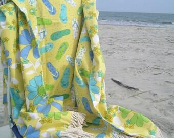 Summer Throw Blanket Beach Ready Cotton, One of a Kind
