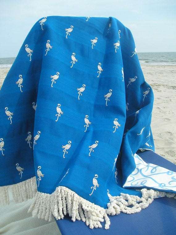 Shore Bird, Beach Ready Nautical Throw Blanket in Electric Blue with White Flamingoes, One of a Kind, Made in North Carolina