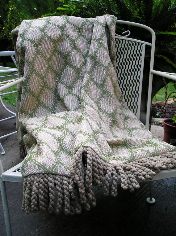 One of a Kind Accessory Throw Blanket, Made with  Textured Fabric Featuring a Chartreuse Contemporary Print.