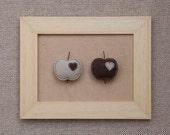 Felt apples with tiny hearts - set of 2 magnets, felt magnets, felt fruit