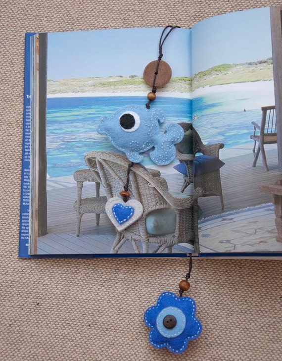 Blue fish with a flower and a heart - felt bookmark