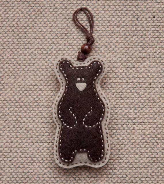 Felt teddy bear ornament or keychain pendant