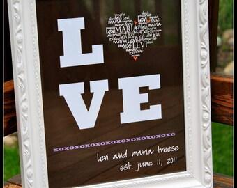 "Typography, LOVE Wedding/Anniversary digital print, 11""x14"""