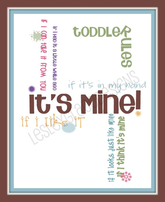 Toddler Rules, Typography Art, 8x10 digital print