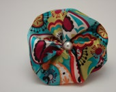 VIVIAN: Printed Ribbon Flower with Pearl Center Hair Clip, Brooch