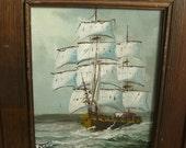 Vintage Oil Painting - Signed - Maritime Sailing Vessel