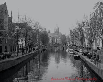 Canal in Amsterdam 16x20 Black and White fine art print