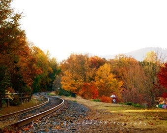 Railroad Tracks Winding Away into the Woods, Fall Foliage, warm red yellow orange brown autumn colors, Fine Art Landscape Photography
