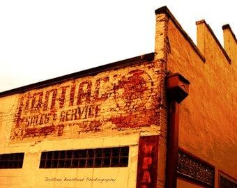 Garage Wall Art- Pontiac Shop Photo, vintage red and tan, home decor