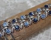 ViNtAgE Rhinestone Sapphire Blue and Silver Tone Bracelet..Stunning..
