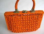 vintage handbag - purse - tangerine tango orange plastic woven