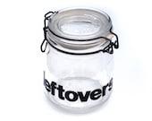leftovers glass jar - 70s typography