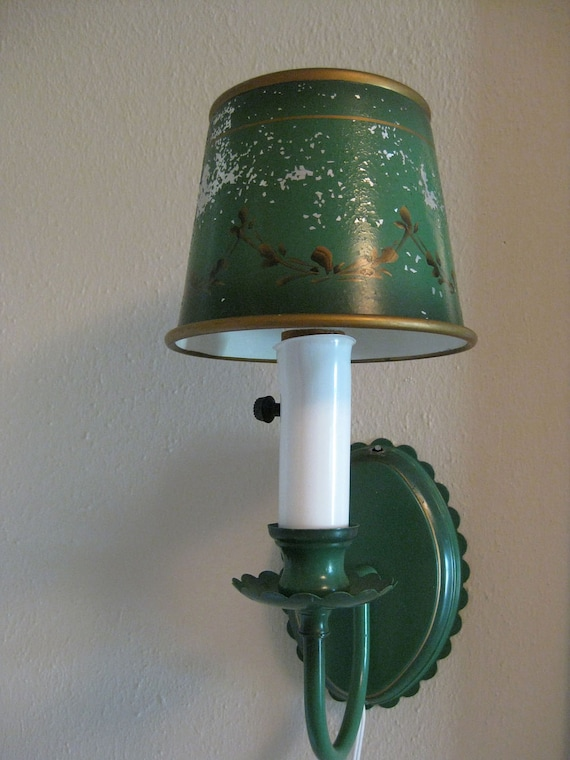 Green Metal Wall Lights : wall lamp tole metal sconce green and gold BLACK by TejasVintage