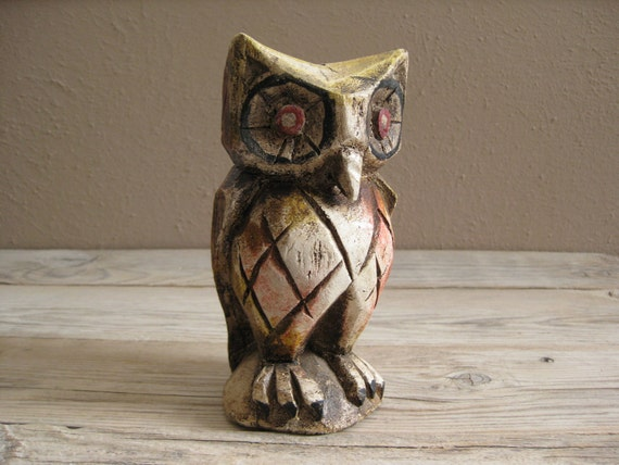 vintage owl - hand carved wood figurine