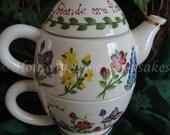"TEAPOT ""Tea for One"" - Floral Bouquet -- FRIENDS are FLOWERS"