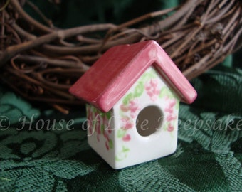 ROSE - Ceramic Bird House FAN PULL - 1 Story