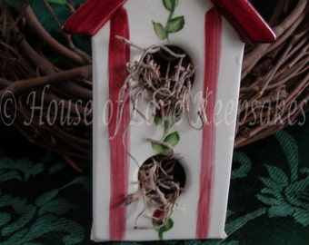 Decorative TWO-STORY Ceramic BIRDHOUSE in Mulberry