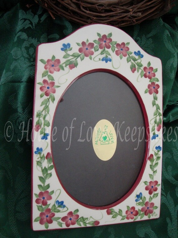 CERAMIC 5x7 Hand-Painted PICTURE FRAME in Mulberry