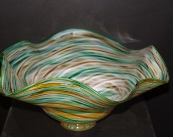 Handblown Glass Bowl, Large, Fluted