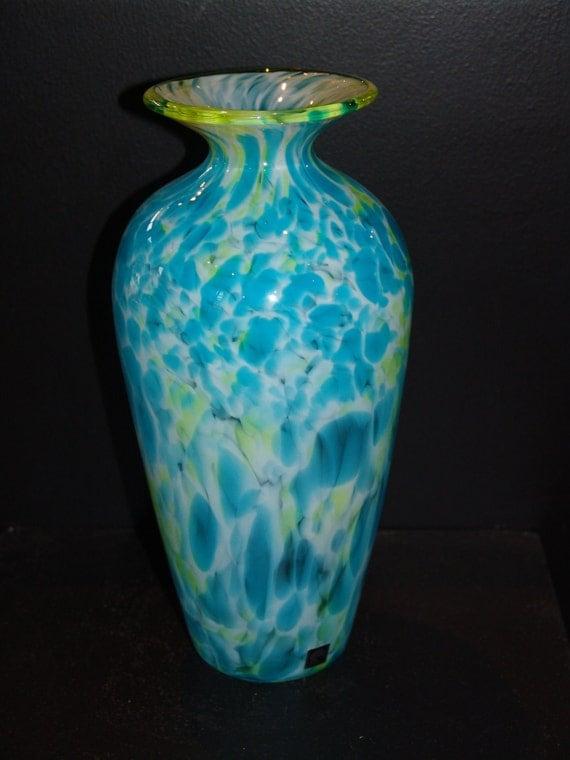 Handblown Glass Vase, aqua, lime, and white spots