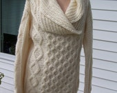 Hand knited cable sweater, shawl collar OOAK, wool blend, cream color, size medium to large