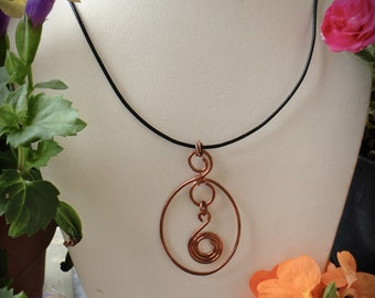 Leather Necklace Copper Pendant Necklace With black Greek Leather