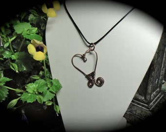 Copper Pendant, Black Satin Cord, heart pendant, copper pendant