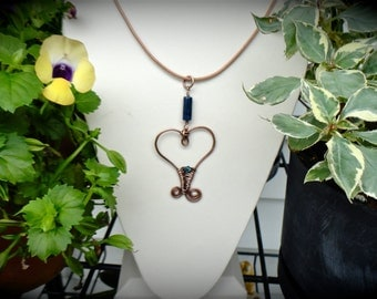 Leather Necklace Copper Pendant  with natural greek leather, swarovski crystal, blue, lapis lazuli