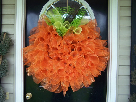 Handmade Front Door Deco mesh Halloween Fall Thanksgiving Pumpkin Wreath