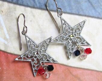Silver Star Earrings, Patriotic Earrings, Fourth of July Earrings, July 4th Earrings, Swarovski Earrings, Star Earrings, Red Earrings