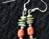 Navajo Creation Turquoise Abalone & Coral, Nevada Turquoise Earrings, Abalone Earrings, Turquoise Earrings, Navajo Earrings, Navajo Jewelry