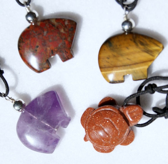 Precious Stone Amulet Chokers w/ adjustable chord, Amethyst Bears Amulet, Indian Jasper Bear Amulet, Brown Goldstone Bear Amulet, Tiger Eye