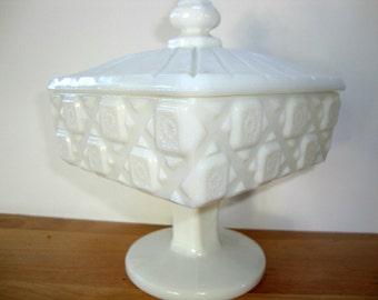 Vintage Westmoreland quilt pattern Milk glass candy dish