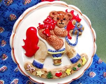 Vintage Teddy Bear Rocking Horse Ceramic Mold by Enesco Japan
