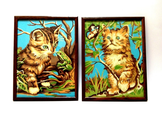 Vintage Curious Kittens Paint by Number
