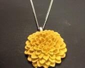 Mustard Yellow Chrysanthemum Polymer Clay Flower Necklace