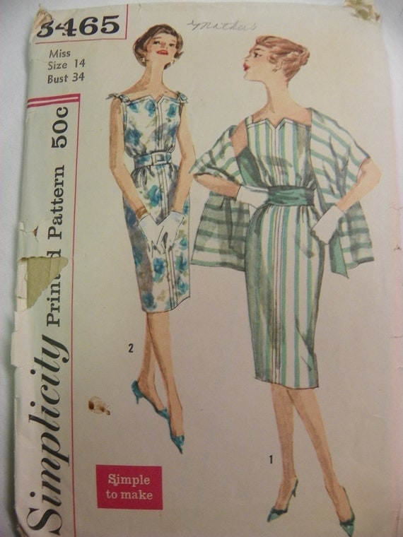 Simplicity 3465 Vintage dress, stole and cummerbund