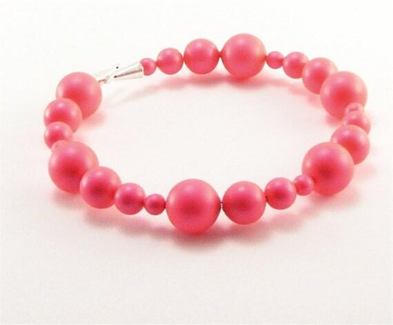 Neon Pink Bracelet - memory wire bracelet