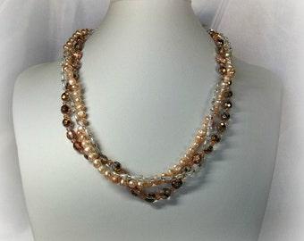 Three Strand Peach Necklace