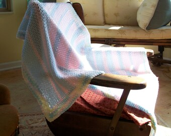 Crochet Baby Afghan with Pastel Stripes