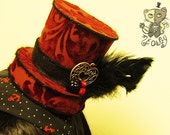 Dark Red Mini Top Hat with Velvety Floral Designs and Black Feathers