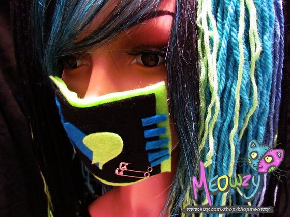 Blue, Black, and Green Rave Face Mask with Broken Heart Design and Safety Pins