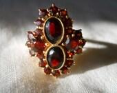 Reserved for Kaisa Vintage Gold Bohemian Garnet Ring