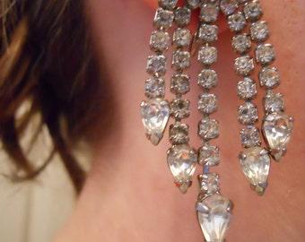 Vintage Long Rhinestone Clip On Earrings. Wedding